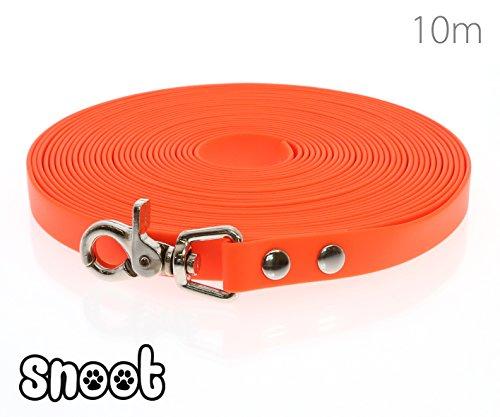 SNOOT Schleppleine 10m Neon-Orange - zugfeste, schmutz- und Wasserabweisende Hundeleine mit einem Karabiner