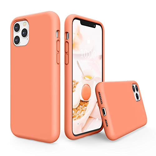 SURPHY Silicone Case Compatible with iPhone 11 Pro Max Case 6.5 inch, Liquid Silicone Full Body Thickening Design Phone Case (with Microfiber Lining) for iPhone 11 Pro Max 6.5 2019 (Peach)