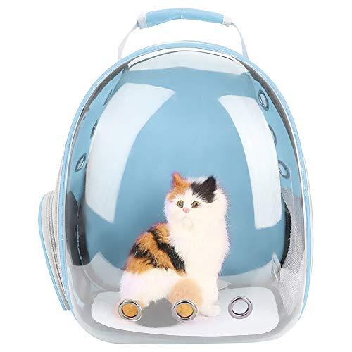 Zerodis Mochila Transparente para Gatos, con diseño de Burbuja Transpirable 360 ° Cápsula Espacial Diseño Portátil Mascota de Viaje Mochila para Gatos Perros pequeños (Azul)