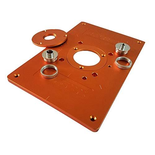 flygogo Aluminium-Router-Tabellen-Einsatz-Platte mit 4 Buchse elektrische Holzfräser-Abgleich-Maschine-Flip-Platten-Führungstabelle für Werkbank