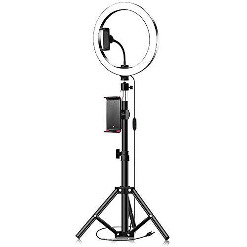 DERCLIVE Anillo de Luz LED Regulable LED Live Video Ring Light Set con Clip de Tableta Trípode 3 Colores