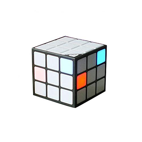 Caja De Sonido Inalámbrica Portátil, Altavoz De Forma De Cubo De Rubik, con Multifunción LED LED, para Hogar, Fiestas, Actividades,Negro