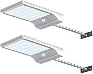 Bonashi Solar Light Outdoor,Motion Sensor Wall Lights with Mounting Poles,Waterproof Detector Light,Security Lighting for Barn Porch Garage, 2 Pack,White