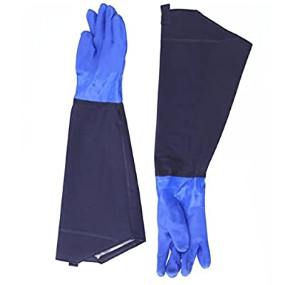 "SYROVIA™ 1 Pair 25.6"" Long Waterproof Rubber Gloves Thicken Winter Cotton Lined Work Gloves - Car Washing Aquaculture Oil Worker Spraying"