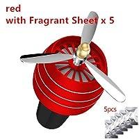 HANQQINGHENG ミニLED車の香り芳香剤空調合金オートベントアウトレット香水クリップ新鮮なアロマフレグランス雰囲気のライト (Color : Red)
