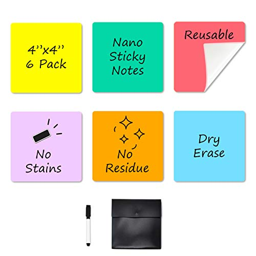 """Dry Erase Sticky Notes - 6 Colors Reusable Whiteboard Stickers 4""""x4"""" - 6 Pack. Suitable for All Smooth Surface. No Paper Post Notes Again. Its Washable, Removable and Eco-Friendly !"""