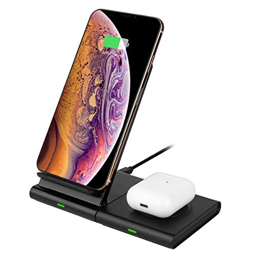 Hoidokly Dual 2 in 1 Wireless Charger, 10W Fast Charging Stand for Samsung Galaxy S10/S10+/S10e/S9/S8/S8+/S7/Note 10/10+/9, Galaxy Watch/Gear/Buds, iPhone 11/11 Pro/XR/XS Max/X/8/8 Plus/Airpods Pro