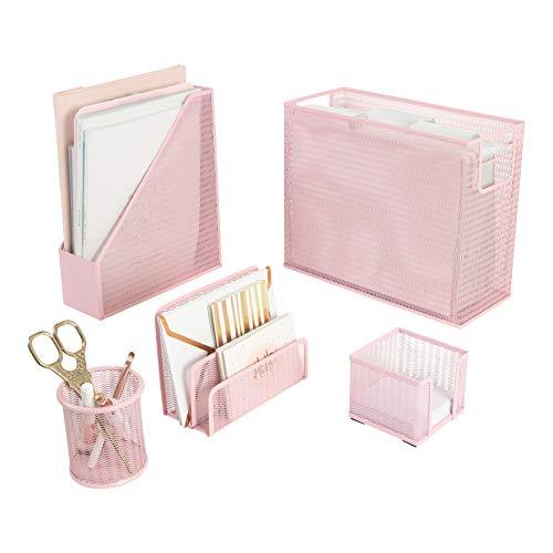 Blu Monaco - Organizador de computadora de 5 piezas, color rosa, con organizador de archivos para colgar computadora, soporte para revistas, bolígrafos, soporte para notas adhesivas, clasificador de cartas, color rosa