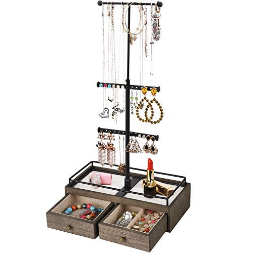 Keebofly Jewelry Organizer Metal & Wood Basic Storage Box - 3 Tier Jewelry Stand for Necklaces Bracelet Earrings Ring Weathered Grey