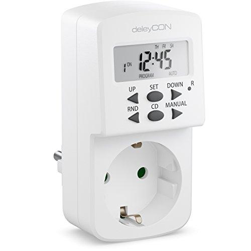 deleyCON Digitale Zeitschaltuhr mit LCD Display Wochenzeitschaltuhr Zeitschalter Schaltuhr Timer 10 Schaltprogramme 1 Minutenschritte 1800W Weiß