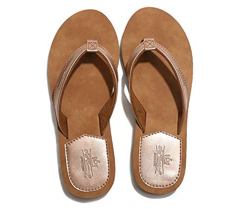 AX BOXING Zehentrenner Damen Flip Flops Schickes Einfach PU Leder Sandalen Sommerschuhe Hausschuhe Weich Strand Schwimmbad Drinnen/Draußen größe 36-41 (Golden, Numeric_39)