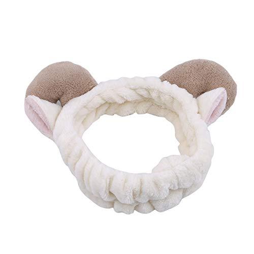 GLJYG Cinta para el pelo con forma de orejas de animal, forro polar de coral, elástica, para lavar la cara, maquillaje, para mujeres, color crema