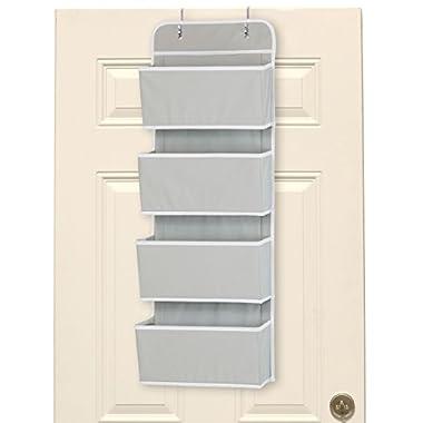 Simple Houseware 4 Pocket Over The Door Wall Mount Hanging Organizer, Grey