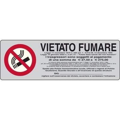 Targa segnaletica VIETATO FUMARE adesiva in PVC (5x15) colore grigio - targhetta ufficio
