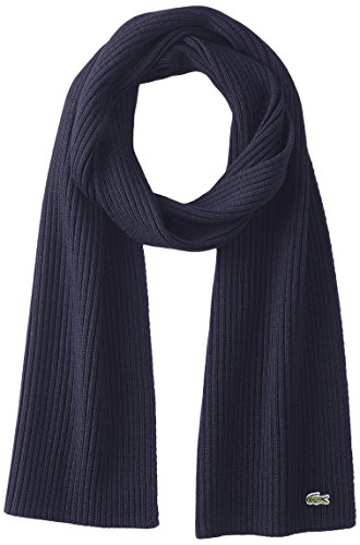 Lacoste Men's Classic Wool Ribbed Scarf, Navy Blue, One Size