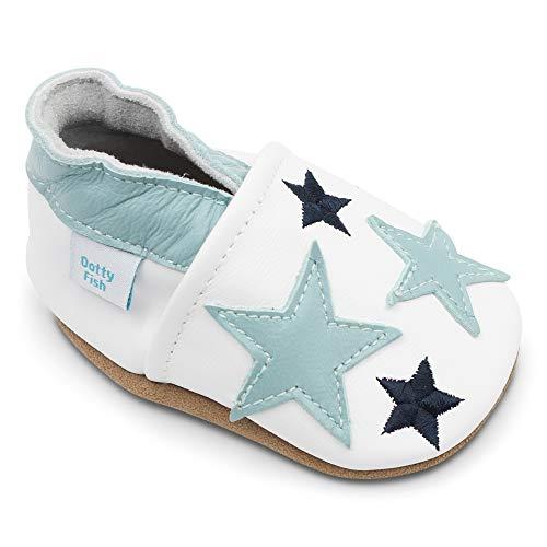 Dotty Fish Zapatos de Cuero Suave para bebés. 0-6 Meses a 4-5 Años (17-28 EU). Antideslizante. Niños Primeros Pasos.