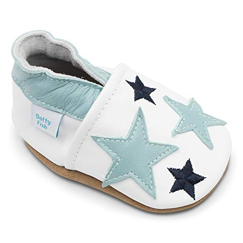 Dotty Fish weiche Leder Babyschuhe mit rutschfesten Wildledersohlen. 12-18 Monate (21 EU). Weiß mit blauen Sternen. Jungen und Mädchen. Kleinkind Schuhe.