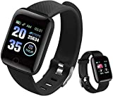 Smart Watch, Fitness Tracker with Heart Rate Monitor, Activity Tracker, IP68 Waterproof Pedometer Smartwatch with Sleep Monitor, Step Counter for Women and Men (black-2021) (B-New)