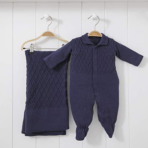 Saída De Maternidade Mami Tricot Modelo Colete Tamanho Rn 02 Peças, Papi Textil, Marinho