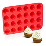 Silicone Muffin Pan Mini 24 Cups Cupcake Pan, Nonstick BPA Free Silicone Baking Pan 1 Pack