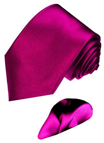 Lorenzo Cana - Marken Set 2 Teile aus 100{69d54a5b5087640880eebd681ff39a6412df6c37bc6363654cc272ad61456a91} Seide - Violett Beere uni Krawatte mit Einstecktuch - 8443101