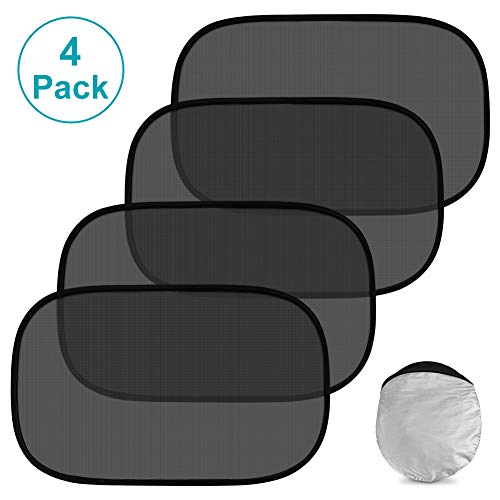 Car Window Shade 4 Pack Cling Window Car Sun Shade for Baby and Kids with Sun Protection, Car Shades for Side Window Block Damage from Direct Bright Sunlight, Heat, and UV Rays