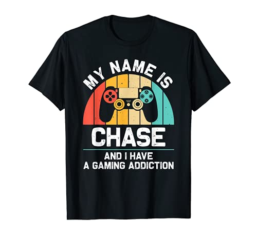 CHASE Regalo Nombre Personalizado Funny Gaming Geek Birthday Camiseta