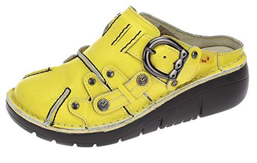 TMA Damen Pantolette Echtleder Leder Schuhe Sandalen Clogs Sabot Schuhe Neu 8890 Gelb EUR 36