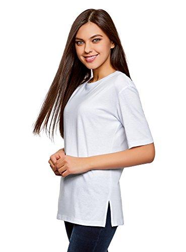 oodji Ultra Damen Lässiges T-Shirt mit Rundem Ausschnitt, Weiß, DE 42 / EU 44 / XL