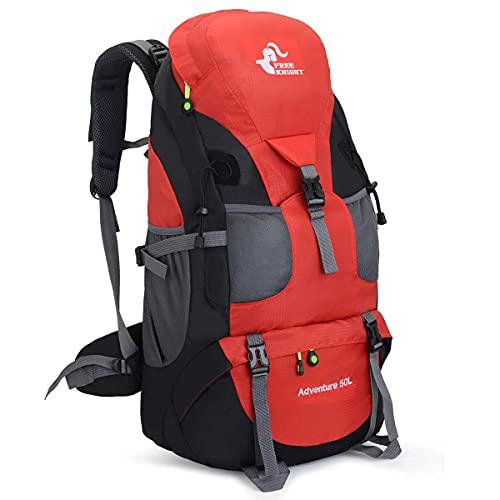 登山リュックサック 50L バックパック大容量 防水 超軽量 登山ザック アウトドア旅行バッグ/キャンプ/で休暇を過ごす/釣り/日常レジャー便利男女兼用 収納性抜群リュック ザック収納袋 (赤い色)