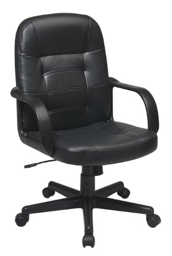 Office Star Mid Back Padded Seat and Back Eco Leather Adjustable Managers Office Chair Eco Leather Managers Chair