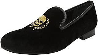 Bareskin Men Golden Skull Worth Embroidery Black Velvet Slip on Shoe