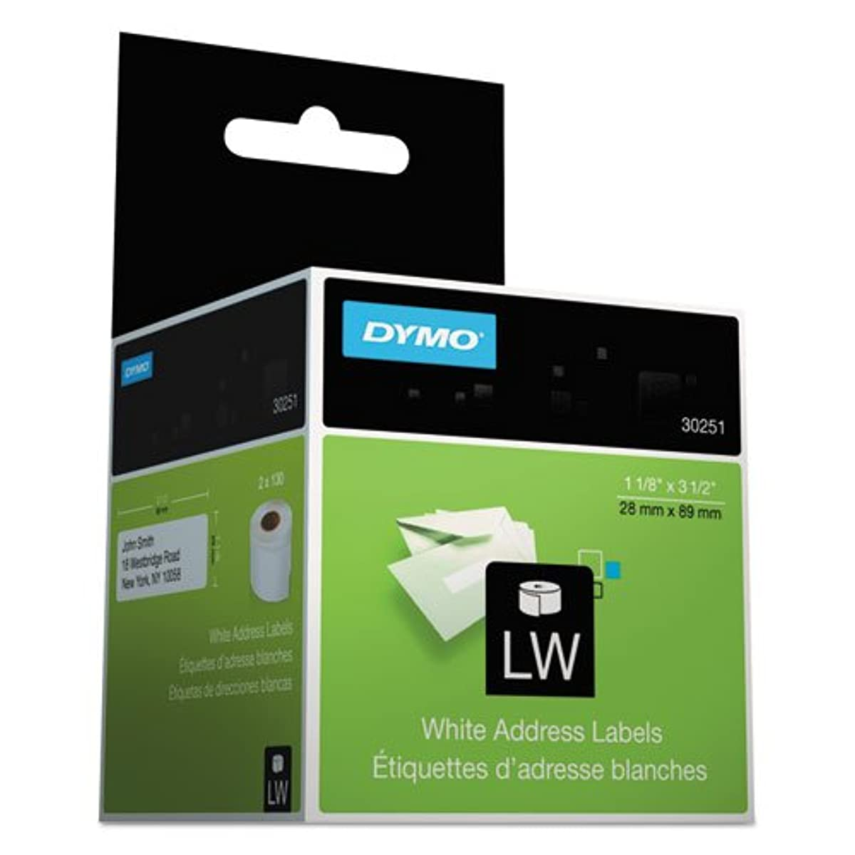 LabelWriter Address Labels, 1 1/8 x 3 1/2, White, 130 Labels/Roll, 2 Rolls/Pack
