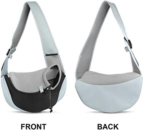 You Pet Dog Sling Carrier, Breathable Mesh Travelling Pet Hands-Free Sling Bag Adjustable Padded Strap Front Pouch Single Shoulder Bag for Dogs Cats 5
