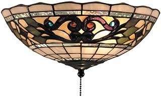 Elk 990-D Tiffany Buckingham 2-Light Fan Kit/Ceiling Mount, 4-1/2-Inch, Vintage Antique With White Tiffany Style Glass