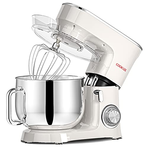 COOKLEE Stand Mixer, 9.5 Qt. 660W 10+1 Speeds Electric Kitchen Mixer with Dishwasher-Safe Dough Hooks, Flat Beaters, Wire Whip & Pouring Shield Attach, White