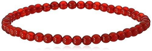 4 mm Smooth Round Carnelian Stretch Bracelet, 8'