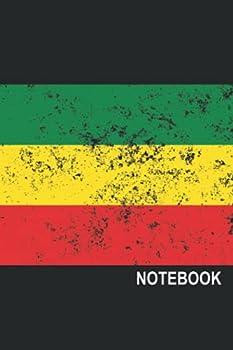 Notebook  rasta style vintage minimalist notebook journal  beautiful distressed green yellow and red reggae rainbow journal notebook.