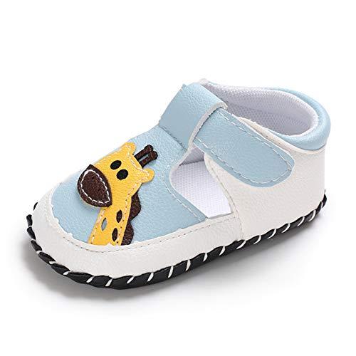 Geagodelia Baby Sandalen Weicher Lauflernschuhe Hausschuhe für Kleinkind Mädchen Junge mit Süß Cartoon Tiere Muster (12-18 Monate, Giraffe-Hellblau)size 3