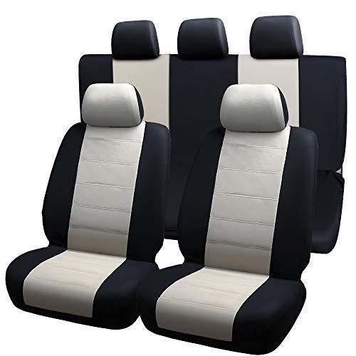 LINGJIE Universal Full Leder Autositz deckt neun Stück EIN, atmungsaktive Autokissenbezug einfach komfortabel, neun Stück Set,Rot