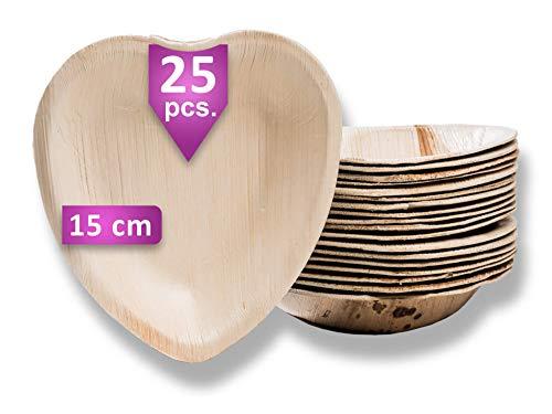 Waipur Platos Hoja de Palma Orgánicos – 25 Platos Desechables en Forma de Corazón – 15 cm – Vajilla Ecológica Premium, Estable, Natural y Biodegradable – Platos de Boda – Platos Compostables