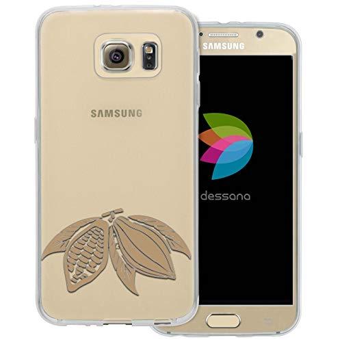 dessana chocolade transparante beschermhoes mobiele telefoon case cover tas voor Samsung Galaxy S Note, Samsung Galaxy S6, Cacao-plant.