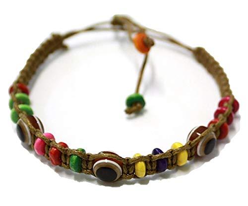 1 Bracelet ŒIL CHANCEUX charme de perle ethnique cordon BRUN pour succès mode