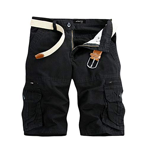 Pure Color Shorts Männer Casual Pure Color Outdoor Pocket Strand Arbeitshose Cargo Shorts Hose Joggen und Training Shorts Taschen Strand Arbeit Hosen...