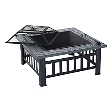 Outsunny 32  Metal Square Outdoor Patio Backyard Fire Pit with Cover