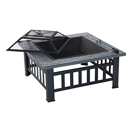 """Outsunny 34"""" Steel Square Outdoor Patio Wood Burning Fire Pit Table Top Set w/Mesh Spark Screen"""