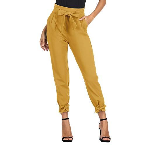 Pantalones Anchos de Las Mujeres del Verano con La Correa Ocasional de La Manera del Bodycon EláStico Amarillo S CL10903-2