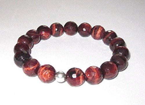 World Wide Gems Positive Energy Silver Helling - Pulsera elástica de ojo de tigre rojo de 10 mm, redonda, lisa, 19 cm para hombres, mujeres, GF, BF, adultos.