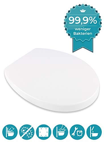 Calmwaters® WC Sitz Toilettendeckel - Made in EU, antibakteriell mit Absenkautomatik, abnehmbarer Duroplast Toilettendeckel Modern Soft, Edelstahl-TopFix-Befestigung, O Form, 26LP2805