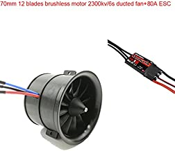 Powerfun EDF 70mm 12 Blades Ducted Fan with RC Brushless Motor 2300KV with ESC 80A(2~6S) Balance Tested for EDF 6S RC Jet Airplane